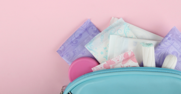 Hygiene feminine pads, tampon menstruation in the beautician; blog: feminine hygiene products