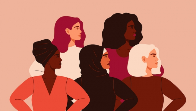 Five women of different nationalities and cultures standing together. Friendship poster, the union of feminists or sisterhood. The concept of gender equality and of the female empowerment movement; blog: Ways to Celebrate International Women's Day